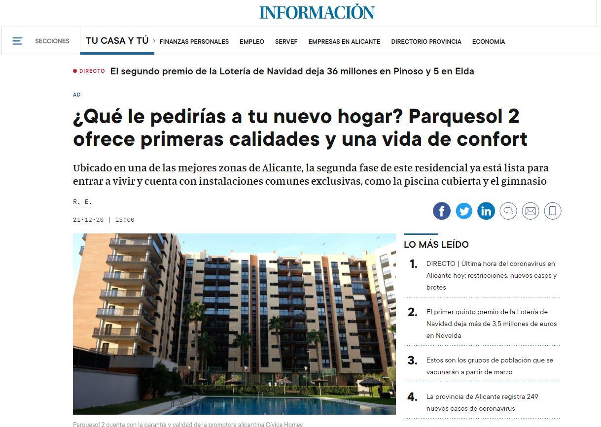 El diario Información publica un reportaje sobre Parquesol 2: primeras calidades y confort