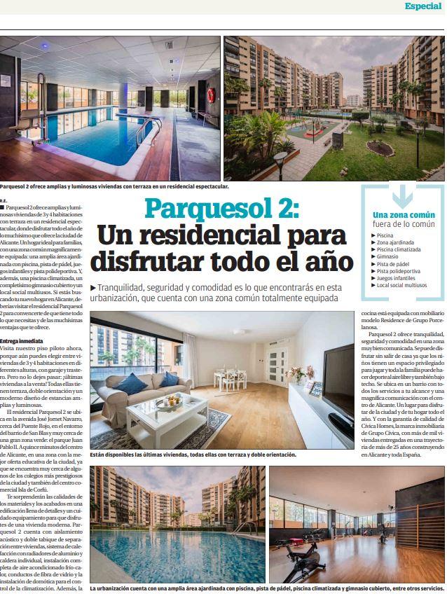 Residencial Parquesol 2 en el Diario Información