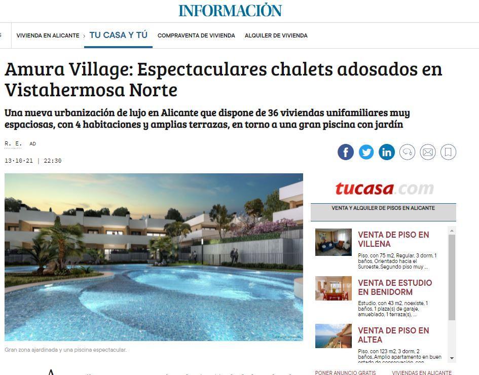 Reportaje en el diario Información sobre Amura Village: espectaculares chalets en Vistahermosa Norte